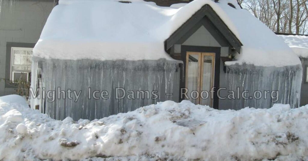 Huge Roof Ice Dams Cover The Entire House Facade