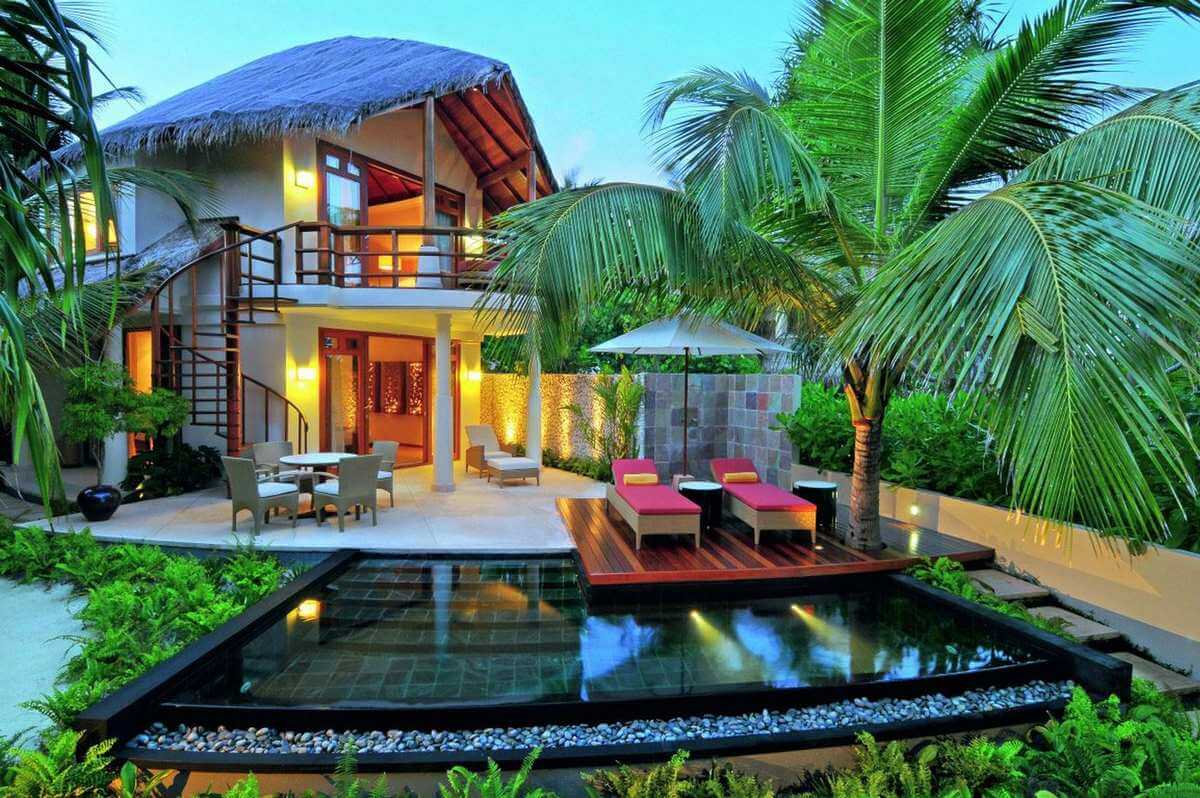 Modern Thatch Roof Tropical Home