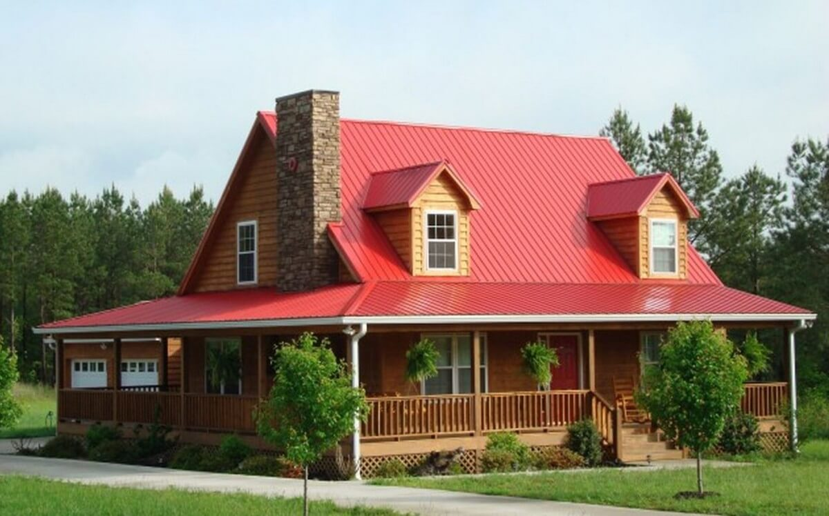 Metal roof cost materials and installation prices for Red brick house with metal roof