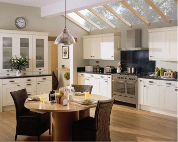 Fixed Skylight in a White Traditional Style Kitchen