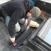 Patching skylight flashing on rubber roof