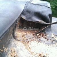 Rubber Roof - parapet flashing repair - before