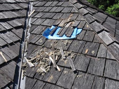 Damaged Cedar Shake Roof