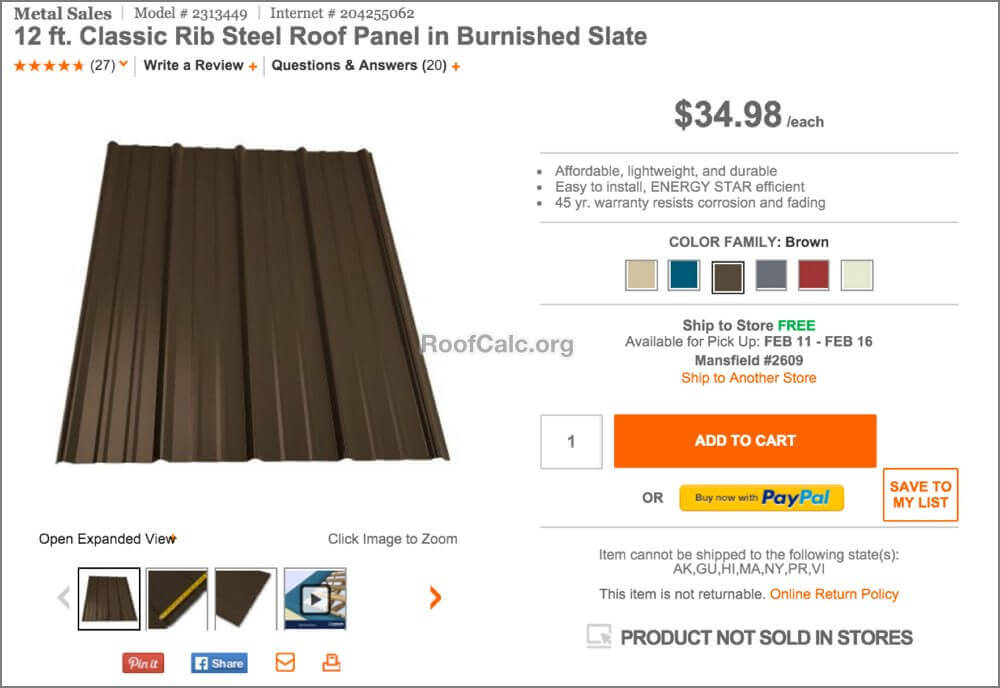 Home Depot Metal Roofing Prices