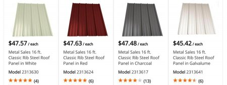 Home Depot Metal Roofing Prices 16 Ft Long R Panel