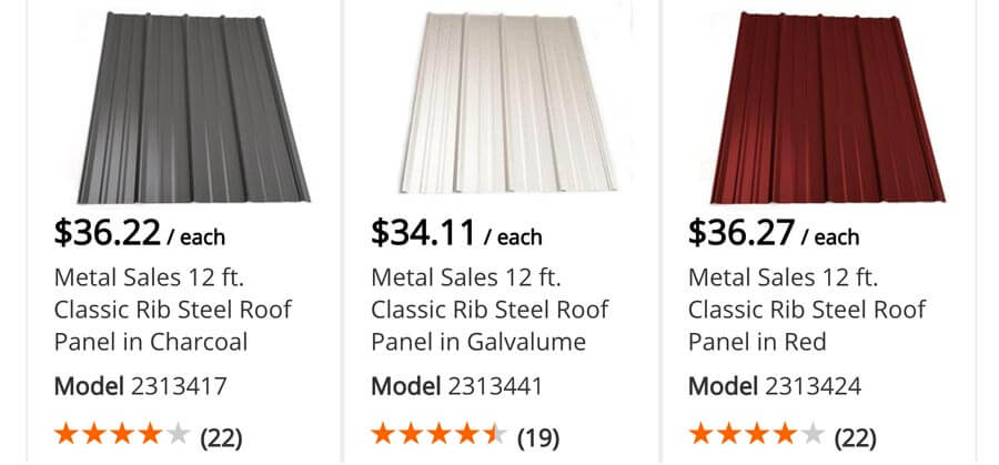 Lowe S Metal Roof Panels : Corrugated metal roofing prices for r panel v