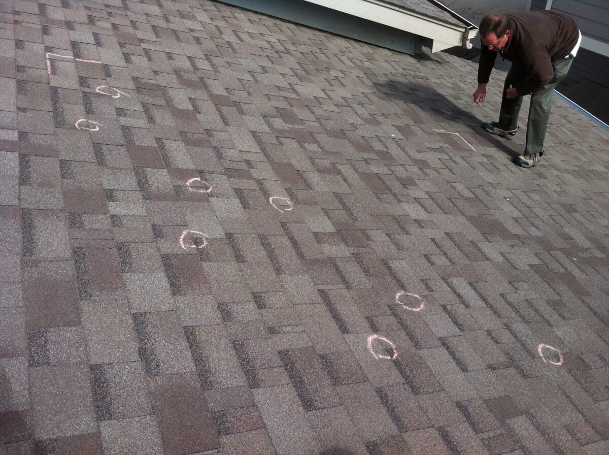 Inspection on a Hail Damage Roof