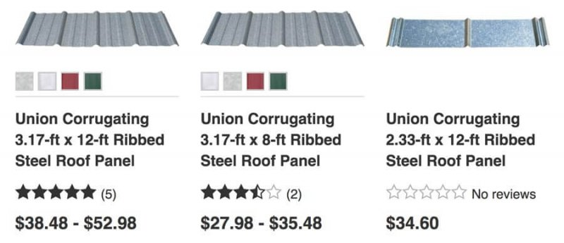 Lowe S Metal Roofing Panels Prices 2017 Roofcalc Org