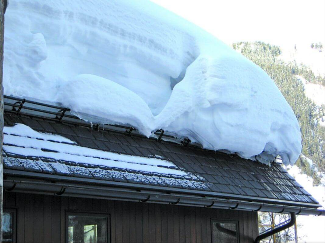 Metal roof in the snow
