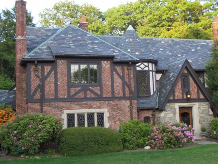 Natural Slate Stone Roof on a Tudor Style Home