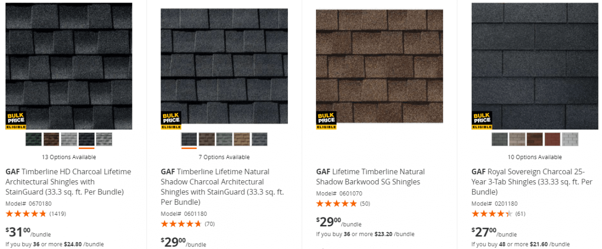 Roofing Shingles Prices at Home Depot