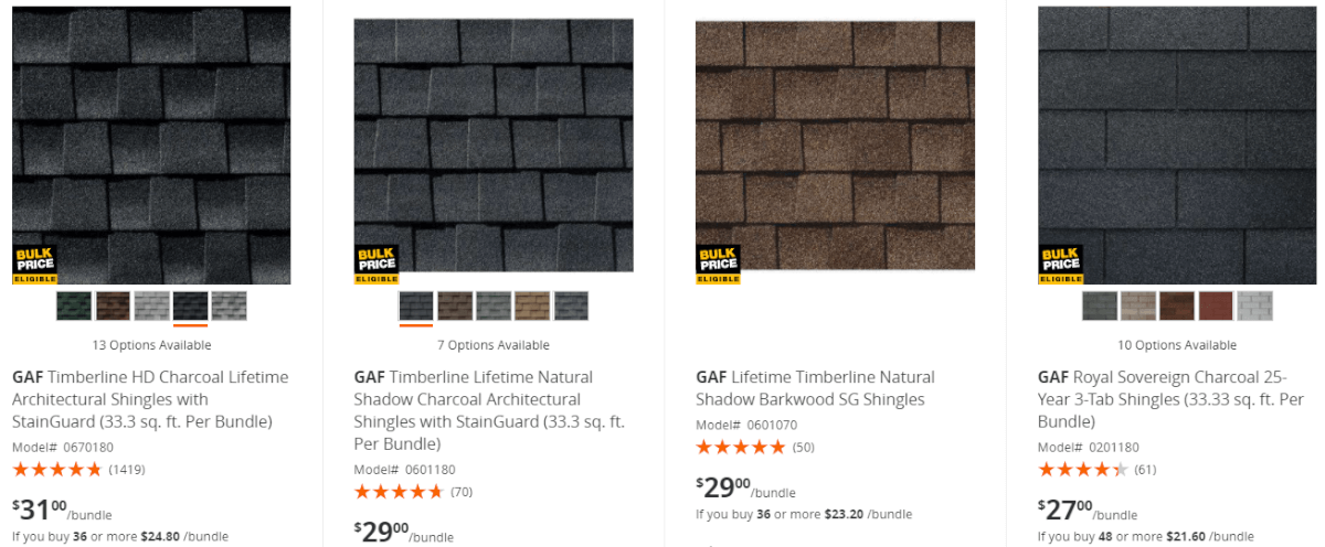 Roofing Shingles Prices At Home Depot Roofcalc Org