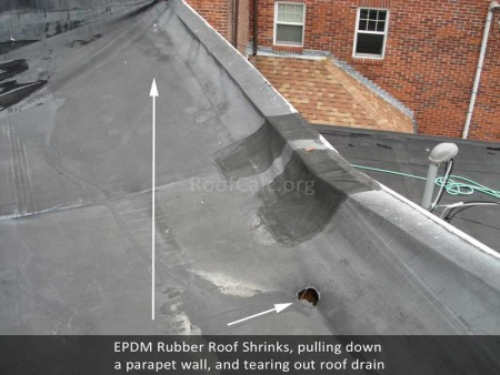 Flat roof membrane shrinks