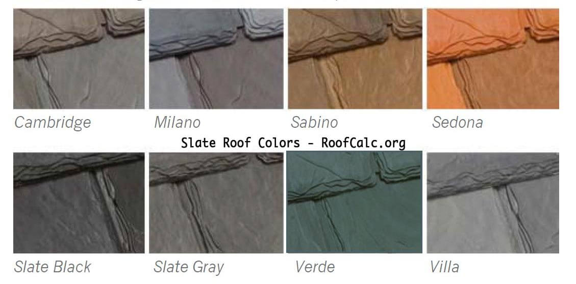 Slate Color Options - RoofCalc.org