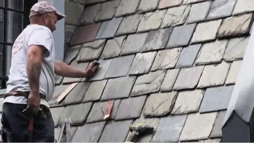 Repairing roofing slate