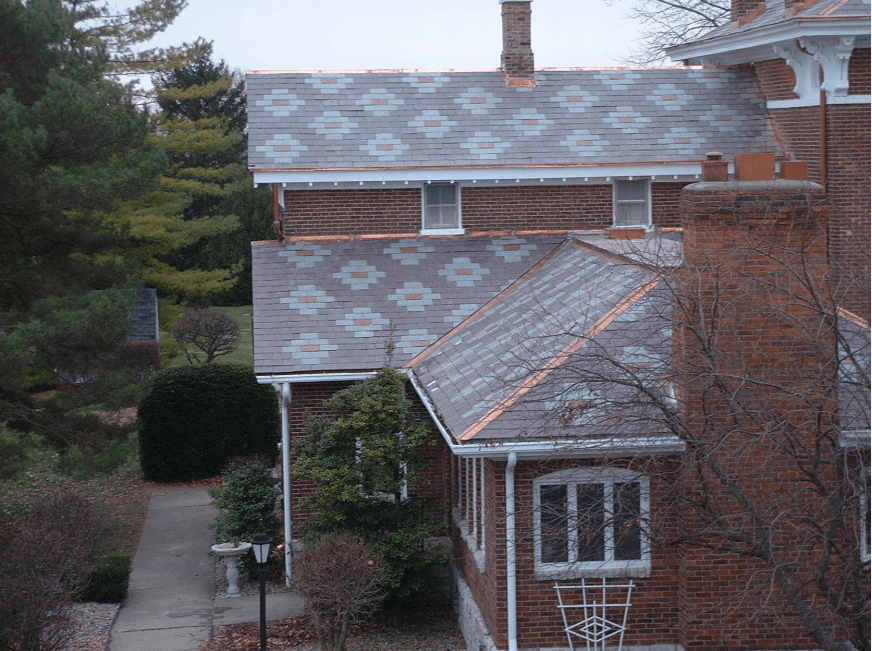 Slate roofing tiles on a residential home