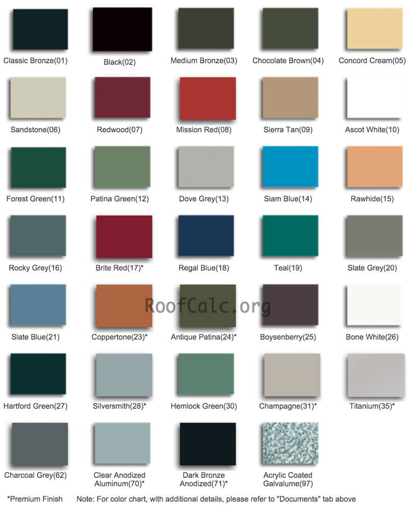 Standing Seam Metal Colors