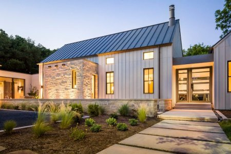 Standing Seam Roof On Modern Farmhouse Style Home