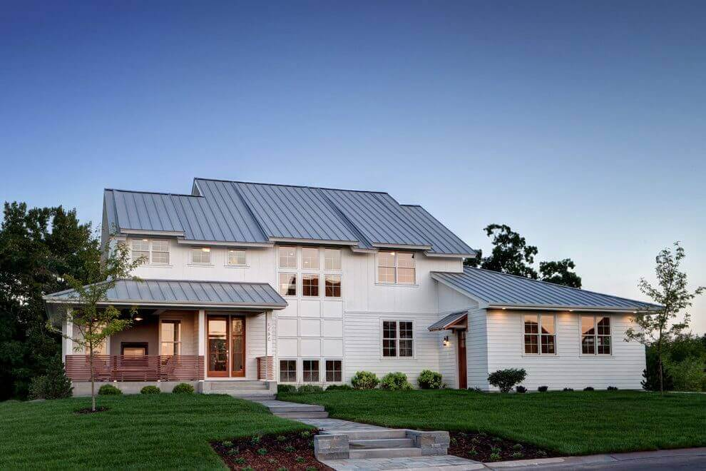 steel standing seam metal roof on a farmhouse style home
